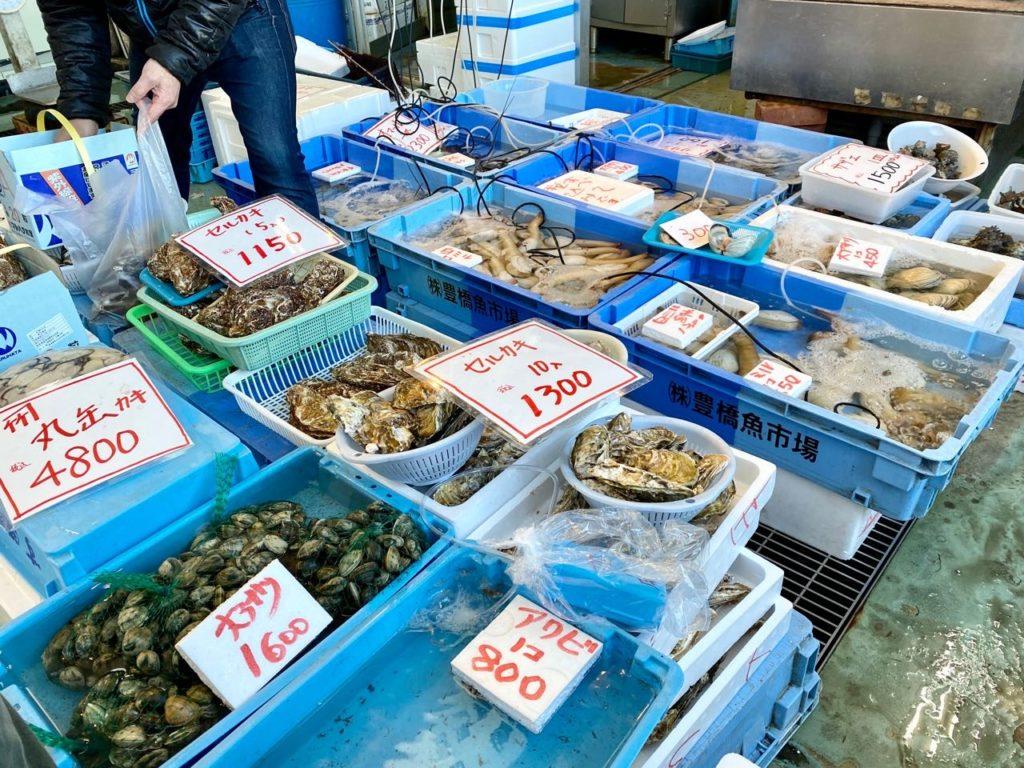 牡蠣やアサリがたくさん